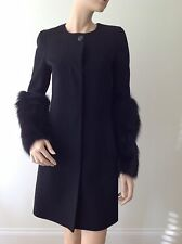 EMILIO PUCCI- UK8 - REAL FOX FUR COAT-JACKET-BLACK-VIRGIN WOOL-CASHMERE TAILORED