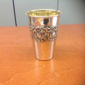 Wappenbecher Sterling Silber Becher 925 Silber innen vergoldet Höhe 9cm Neu