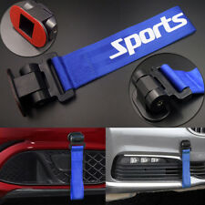 Blue Universal Car Bumper Racing Sports Style Tow Hook Strap Decorative Rope
