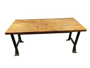 1950's Maple Military Style Industrial Desk Dining Table Secretaire