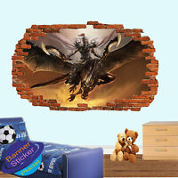 DRAGON WARRIOR FLYING  3D SMASHED WALL ART STICKER ROOM DECORATION DECAL MURAL