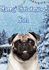 Pug  PIDXM71 A5 Xmas Greeting Card Personalised Nan  Christmas card