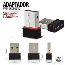 Mini adaptador Wifi USB 2.0 Negro 150Mbps ultra pequeño 802.11n