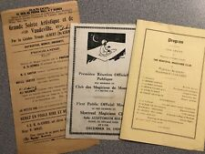 Montreal Magicians' Club , 3 Pcs. Magic Ephemera (Programs) - 1920'S