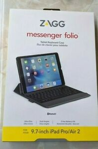 New ZAGG Messenger Case/Folio with Keyboard for iPad Air iPad Air 2 iPad Pro 9.7