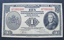 1943 NETHERLANDS EAST INDIES 1 GULDEN BANKNOTE Gouvernmentsgulden VG