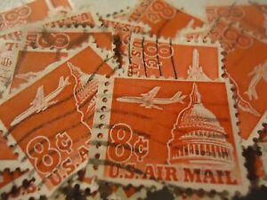 """US postage stamp lot scott C 64 JET OVER CAPITOL""""1962-69"""" CV $20.00 - 100 pack"""