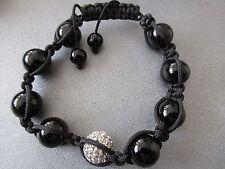 Black Shamballa 12mm Bracelet 1pc