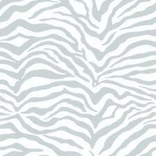 Zebra Print Wallpaper - Silver Metallic