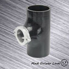 """BLACK 2.5"""" INCH BOV BLOW OFF VALVE SILICONE COUPLER ADAPTER W/ TYPE RS FLANGE"""