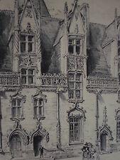 Facade Interieure Chateau JOSSELIN ROBIDA LITHOGRAPHIE ORIGINALE BRETAGNE 1891