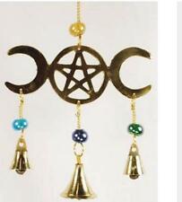 New listing Wind Chime, Triple Moon Goddess Hanging Bell, Brass 3 Bells & Pentacle Goddess