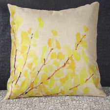 Yellow Ginkgo Leaves Throw Pillow Cover Linen Cushion Sofa Bed Decorative Case