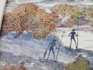 Australian Bark Seaweed Painting ODEG BRIAGOLONG Aboriginal spears and woomera