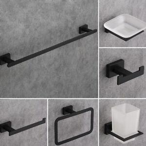 6 PCS Black Bathroom Accessories Towel Rack/Soap box Zinc Alloy Wall Mount Sets
