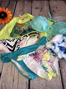 Lot Of 6 Women's Victoria's Secret, Old Navy Bikini Bottoms & Tops Sz. M/ Lg EUC
