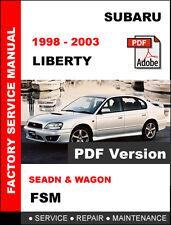 1998 1999 2000 2001 2002 2003 SUBARU LIBERTY OEM FACTORY WORKSHOP FSM MANUAL