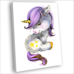 Unicorn Canvas Print Kids Bedroom Framed Cartoon Painting Wall Art Picture