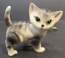 Gray Tabby Cat Figurine With Green Eyes 2 1/2� Tall Waving