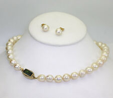 Antique Baroque pearl tourmaline necklace & earrings set 14K yellow gold 2.45CT!