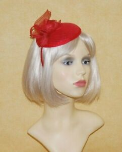 Elegant Red Sequin Disc Fascinator with Sinamay Decoration on Head Band BNWT.