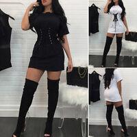 Women Summer Lace Up Crew Neck Long Top Blouse T-Shirt Slim Dress White/Black