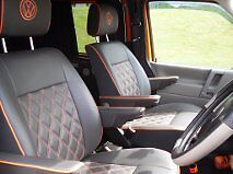 VW TRANSORTER -1 PAIR OF T4 CAPTAINS SEAT COVERS BENTLEY CROSS STITCHED VINYL