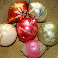 Vintage 6 JUMBO Made in USA Mixed Lot Christmas Tree Mercury Glass Ornaments