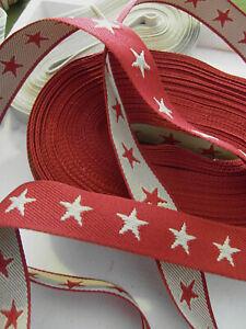 5mtr Sterne rot beige 2cm Webband Geschenkband Nähzubehör Borte Shabby Star