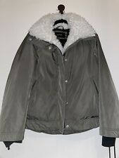 Tahari Green Puffer Jacket Coat, Faux Fur Lining, Size M (Great Condition)