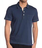 Billy Reid Men's Short Sleeve Pensacola Solid Pocket Polo Shirt Lake Blue