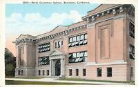 Postcard West Grammar School Stockton California