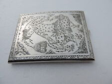 ANTIQUE HAND ENGRAVED PERSIAN ISLAMIC QAJAR SOLID SILVER CIGARETTE CARD CASE