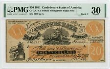 "1861 XX1-C2/Back C $20 ""FEMALE RIDING DEER"" Confederate Fantasy Note - PMG VF 30"