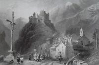 FRANCE Castle Queyras Piedmont Alps Le Guil Valley - 1837 Antique Print Bartlett