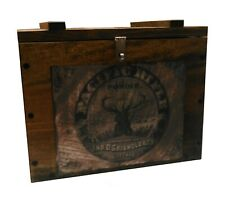 Rustic Wooden Ammo Box - Cartridge Storage Crate - Stag Rifle Powder