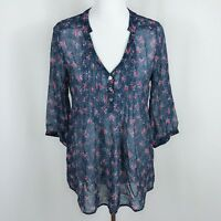 NEW Red Haute A Pea In The Pod Maternity Women Sz M Blue Floral Sheer Top Blouse