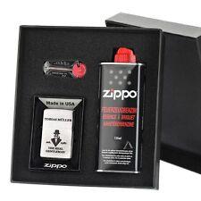 3-tlg. Sturmfeuerzeug-Geschenkset Zippo inkl. Gravur Motiv a Gentleman