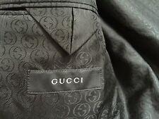 GUCCI Current $1850 Black Pinstripe 2 Button Modern Wool Silk Suit Eu 50 US 42R