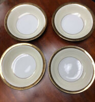 "Set of 4 Noritake Soup Salad Bowls Japan China Goldkin 7 1/2"" Gold Band 5675"