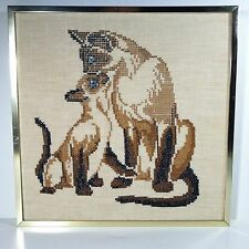 Siamese Cat Cross stitch Completed Framed Canvas Kitty Kitten Blue Eyes picture