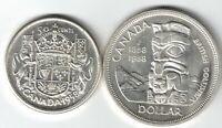 2 X CANADA SILVER COINS 1958 QUEEN ELIZABETH FIFTY CENTS & SILVER DOLLAR