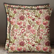 Rose Floral Print Cotton Poplin Maroon Pillow Case Square 2 Pcs Cushion Cover