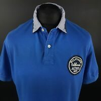 Tommy Hilfiger Mens Polo Shirt LARGE Short Sleeve Blue Regular No Pattern Cotton