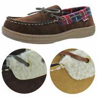 Ben Sherman Men's Milton Faux Suede Shearling  House Shoes Moccasin Slippers