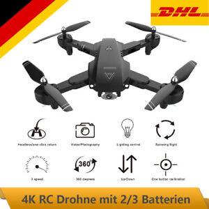 Drohne 4K Drone Selfie WIFI FPV GPS HD Kamera RC Quadcopter mit 2/3 Batterien