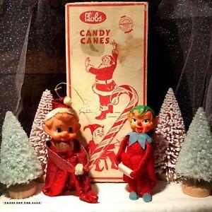 VTG Japan Elf Pixie Knee Hugger Shelf Sitter BOBS Candy Cane Box Christmas Decor