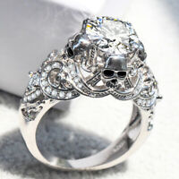 HOT Fashion Skull Wedding White Silver Sapphire Women Jewelry Ring Filled