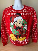Disney Red Long Sleeve Shirt Mickey Christmas Wreath With Lights Women's S/CH