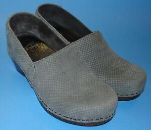 DANSKO mavis grey snake nubuck leather professional stapled clog shoe 36 VGUC